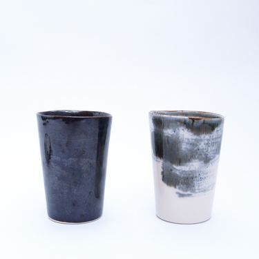 Tumblers handmade ceramic cups in black and paint