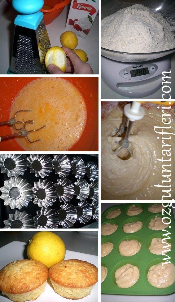 yogun limonlu cup cake yapilis asamasi