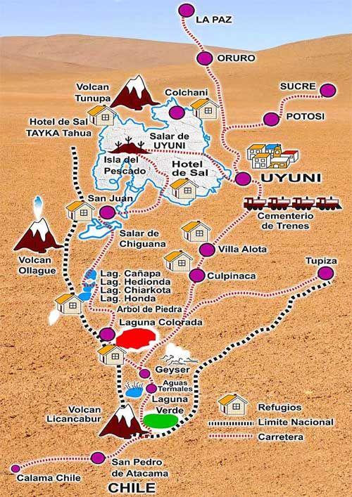 MAPA DEL SALAR DE UYUNI - TURISMO BOLIVIA PERU #Uyuni #Bolivia http://www.turismoboliviaperu.com/pagesp/bolivia/mapa-uyuni.php