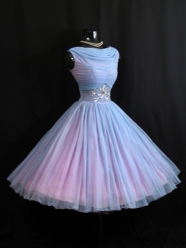 Vintage 1950's Blue Beaded Ruched Chiffon Organza  Dress