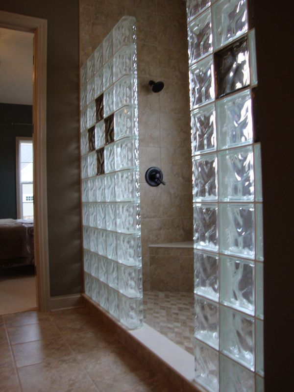 Glass Block Shower With Bronze Colored Glass Blocks