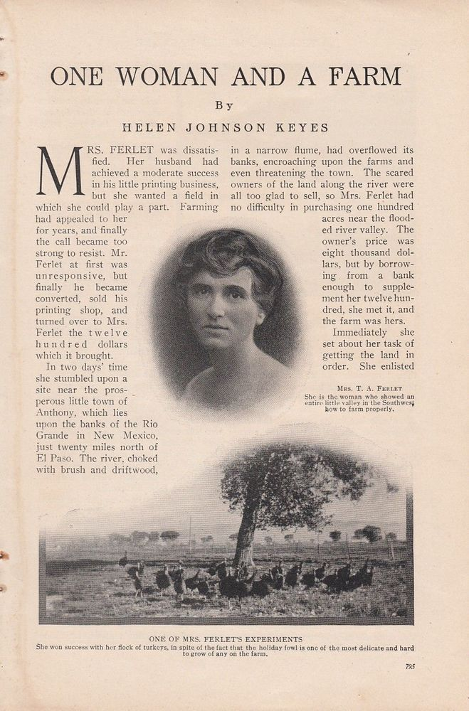 1915 Agriculture Article: One Woman Mrs Ferlet and a Farm Near Anthony NM