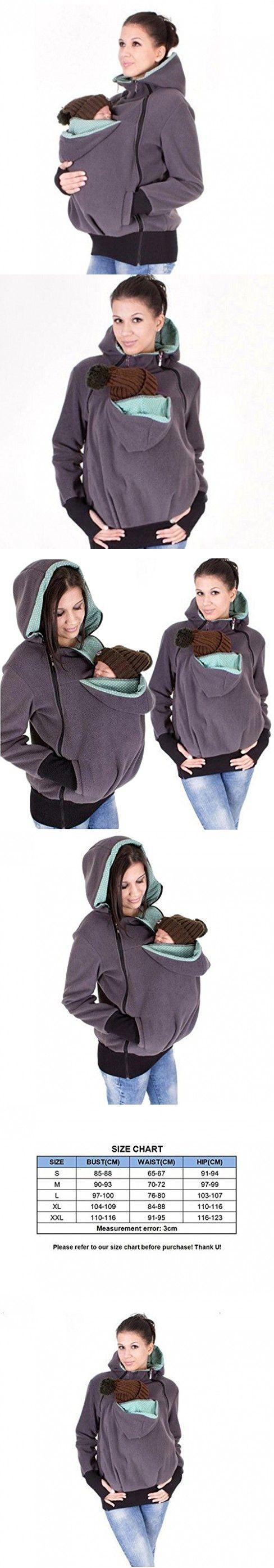 Women 3 in 1 Hoodie Maternity Outerwear Coat Kangaroo Jacket Baby Carrier (M, Grey)