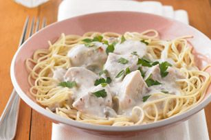 Angel Chicken recipe-   Prep in the morning and come home to slow-cooked chicken in a creamy mushroom sauce. #SlowCookerRecipes