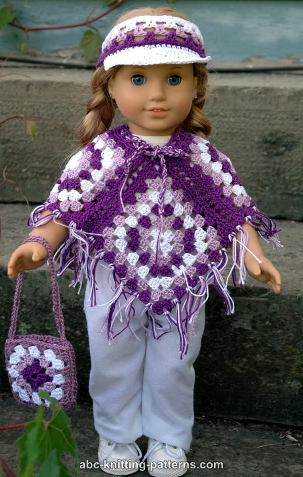 ABC Knitting Patterns - American Girl Doll Granny Square Poncho