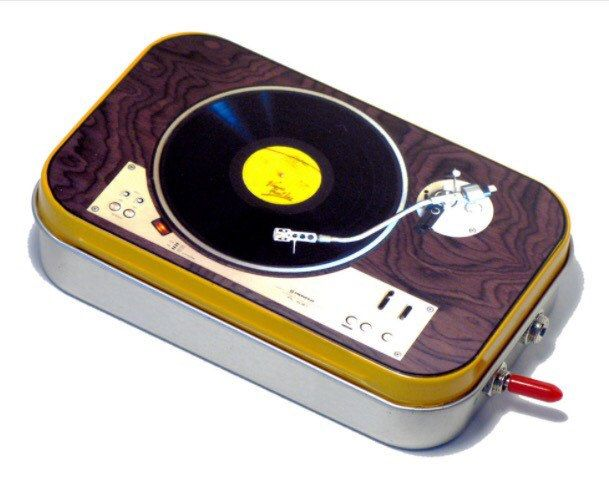 Pocket Boombox Portable Speaker for iPhone iPod or Cell Phone - Upcycled Mint Tin with Wood Baffle - SWEET SOUND!