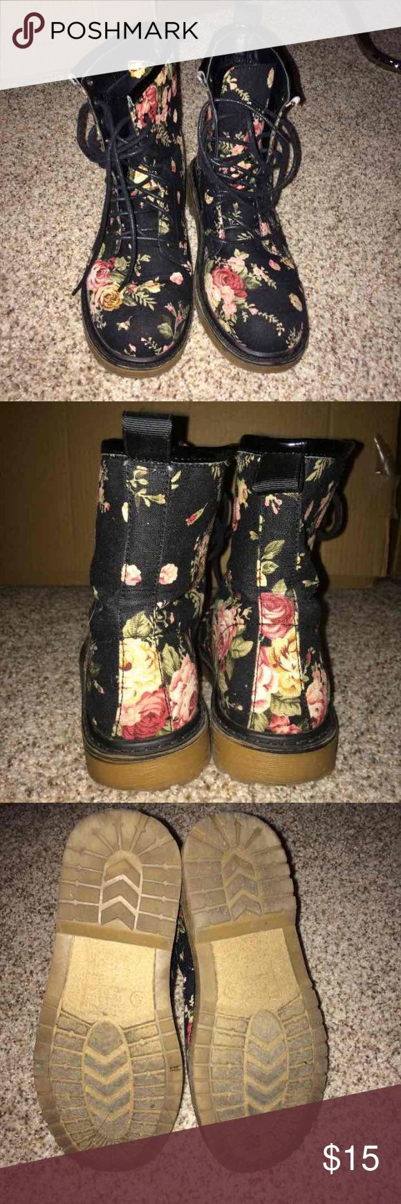 Floral combat boots Super cute. Bought from windsor. Size 5.5 but can fit a 6 because they fit big. No flaws worn 4-5 times. Charlotte Russe Shoes Combat & Moto Boots