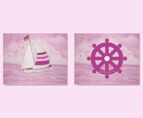 Nautical Girls Room Pink Nautical Nursery SET OF 2 by handpainting, $28.00