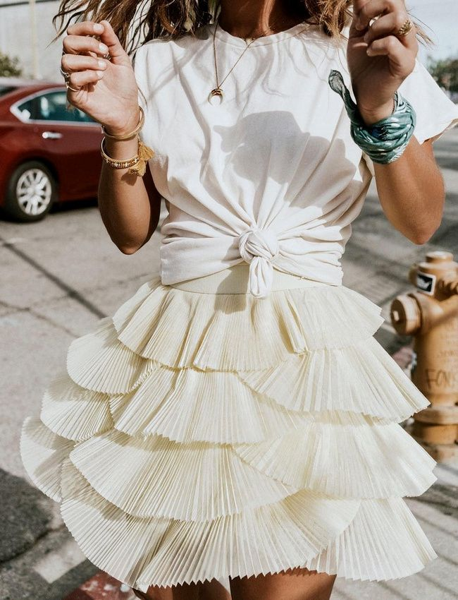 white layered flutter skirt