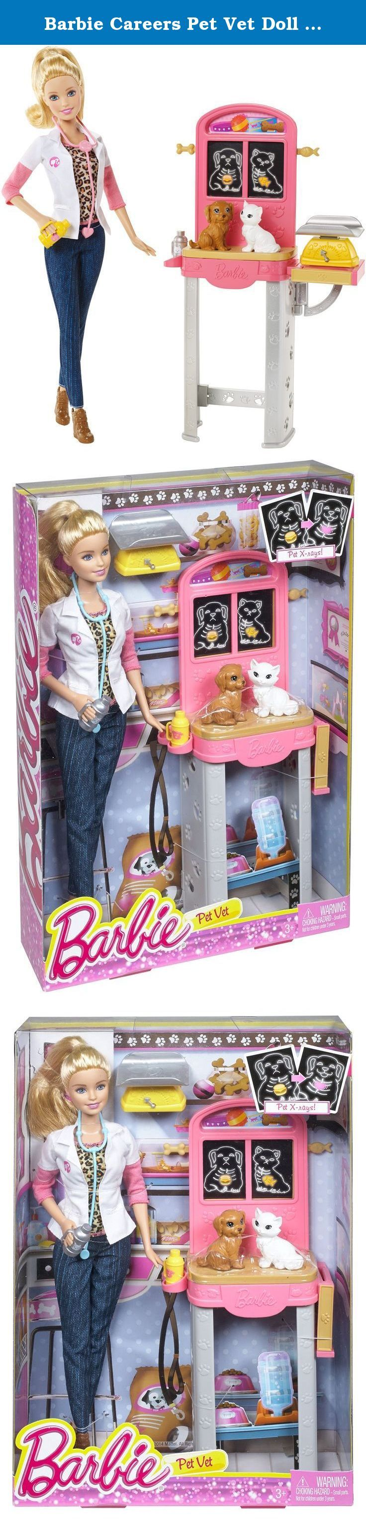 Barbie Careers Pet Vet Doll and Playset. Explore new careers in depth with the Barbie Careers complete play sets. From medicine to teaching, these focused females make anything possible! The Barbie Careers Complete Play Pet Vet set will drive animal lovers wild! It comes with both an adorable white kitten and sweet brown puppy as patients. Place them on the examination table with its x-ray chart that slides up and down to reveal the patients' scans. Barbie doll can weigh them in the scale...