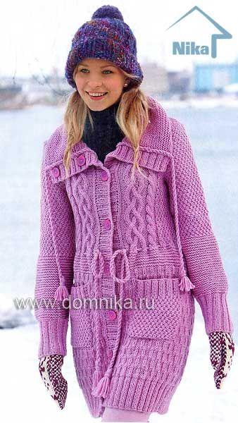 Пальто из пряжи розового цвета