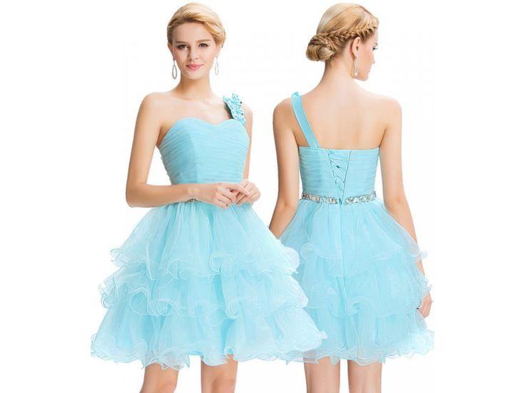 Modré koktejlové šaty, 32 - 44, RYCHLÉ DODÁNÍ - Bestmoda