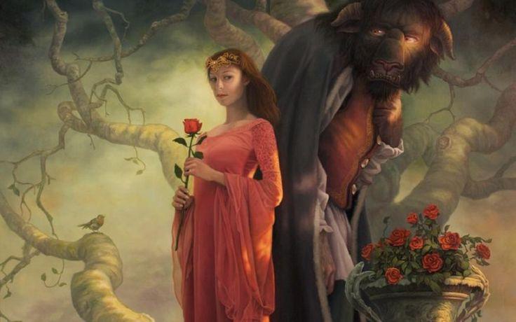 Fantasy Donne  Woman Beast Fiori Alberi Uccello Sfondo