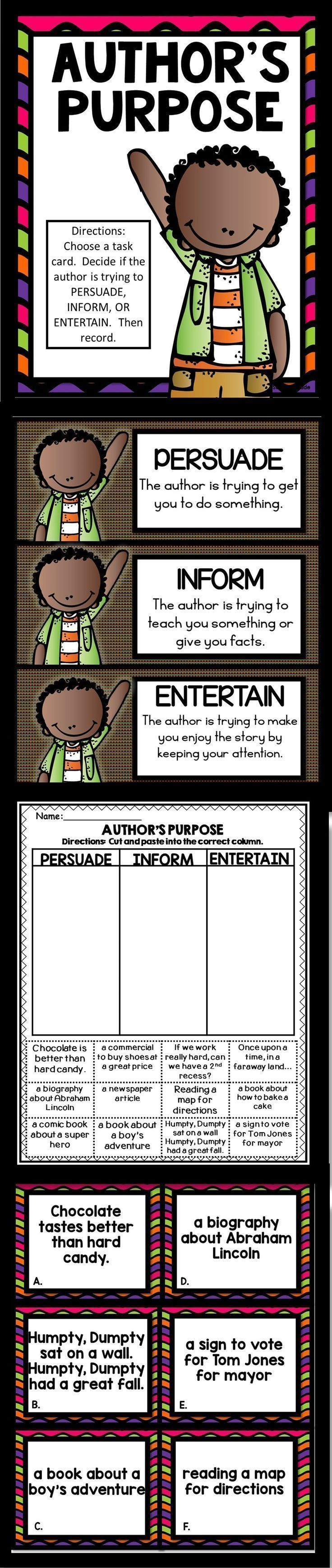 Author's Purpose: Sort the descriptions into Persuade, Inform, or Entertain.  Also includes a cut and paste worksheet.