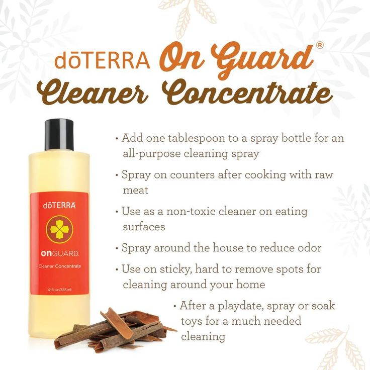 doTERRA On Guard Cleaner Concentrate is designed to be the ideal natural cleaner. It is fortified with the proprietary doTERRA On Guard Protective Blend of Wild Orange, Clove, Cinnamon, Eucalyptus, and Rosemary CPTG Certified Pure Therapeutic Grade® essential oils, which provide natural protection against certain environmental factors while elevating the overall cleaning capability.