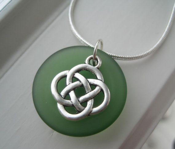 Green Sea Glass Necklace and Earring Gift Set  by Sparkleandswirl, $25.00