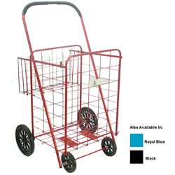@Overstock.com - Large Heavy-duty Shopping Cart with Basket - Shopping cart with basket ideal for carrying groceries or laundryEasy-to-assemble personal shopping cart folds flat for storageShopping cart comes in royal blue, red and black color options  http://www.overstock.com/Home-Garden/Large-Heavy-duty-Shopping-Cart-with-Basket/3238160/product.html?CID=214117 $29.62