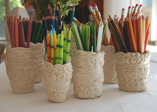 Clay coil pots - clear glaze on white clay