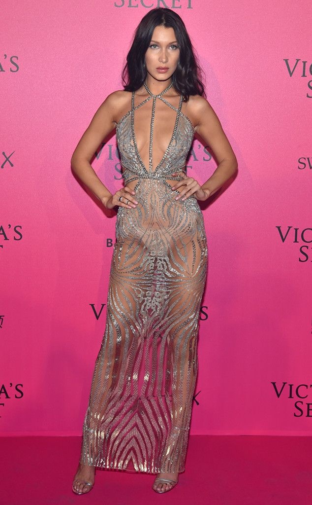 """Panty Parade from Fashion Police  Nude underwear is never supposed to be the main attraction. Bella Hadid obviously missed that memo at the 2016 Victoria's Secret Fashion Show after-party in a completely sheer Julien Macdonald """"gown"""" that puts her panties on full display in the least flattering way. This dress needs lining like yesterday."""
