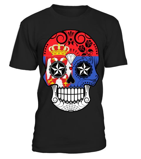 # Serbian Flag Sugar Skull with Roses .  HOW TO ORDER:1. Select the style and color you want: 2. Click Reserve it now3. Select size and quantity4. Enter shipping and billing information5. Done! Simple as that!TIPS: Buy 2 or more to save shipping cost!This is printable if you purchase only one piece. so dont worry, you will get yours.Guaranteed safe and secure checkout via:Paypal | VISA | MASTERCARD