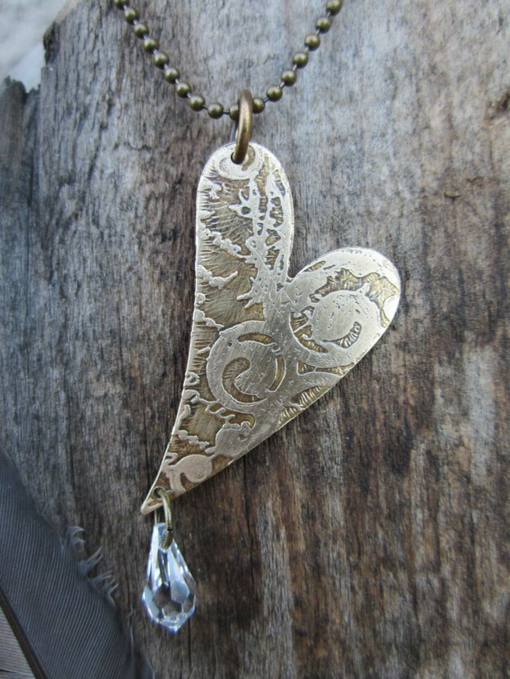 Valentines day jewelry etched metal jewelry heart by MySistersArt, $21.00