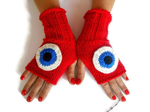 Women Knit Gloves, Red Knit Gloves, Crochet Women Gloves, Women Arm Warmer, Winter Gloves, Fingerless Gloves, Knitted Gloves, Crochet Gloves   Positive energy gloves.  100% handmade.  Red acrylic yarn.  Made of soft yarn.  Glove, eye motif was done.  It is believed to protect you from bad energy.  Boho-style gloves.  You can wear these arm warmers with any clothes.  These handheld heaters are soft and comfortable.  It will add elegance to your hand.  COLOR: Red  Size: Width 3 //...