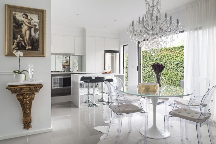 Elegant Melbourne Home. Contemporary with a touch of classical. Kitchen with dining room.