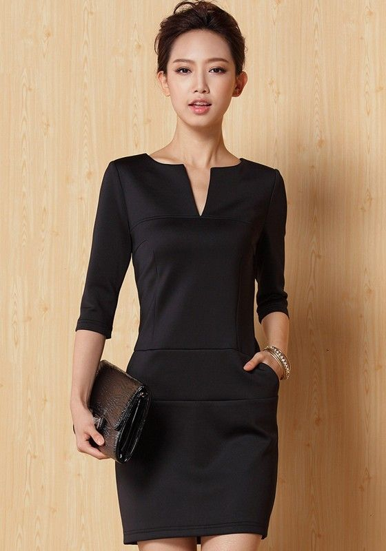 """Black Plain Half Sleeve Mini Dress--forget the """"mini"""" part, but I want this dress in knee length. Hmmm...tailor here I come."""