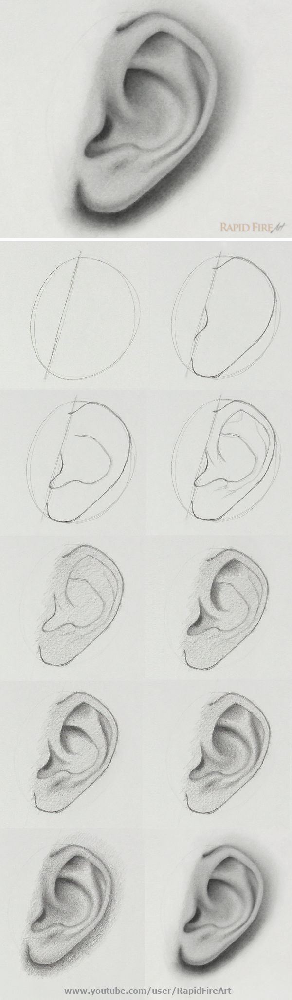 How to Draw + Shade Ears | Side View