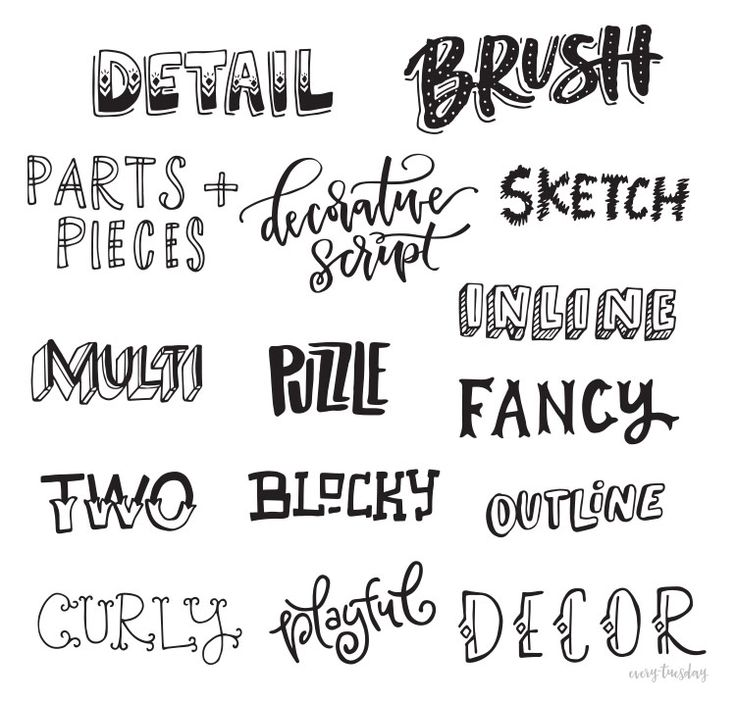 Freebie: Hand Lettering Style Inspiration Guide | Every-Tuesday                                                                                                                                                                                 More