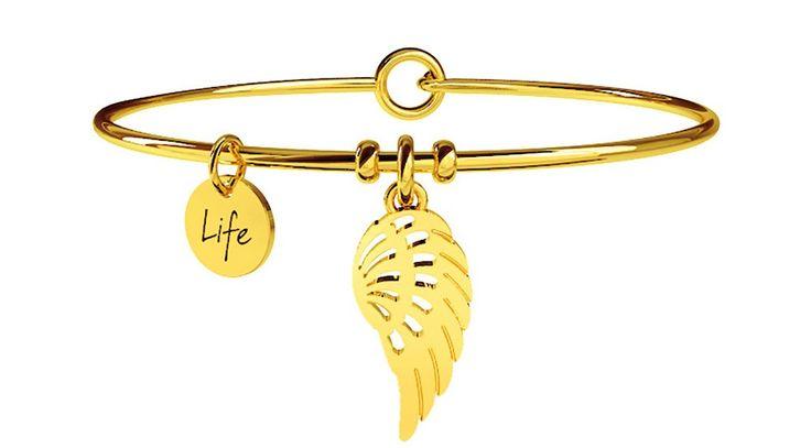 Bracciale rigido kKdult in acciaio dorato con charm a forma di ali, il simbolo della libertà.  #kidult #bracciale #bracciali #donna #ali #libertà #simboli #ala #dorato