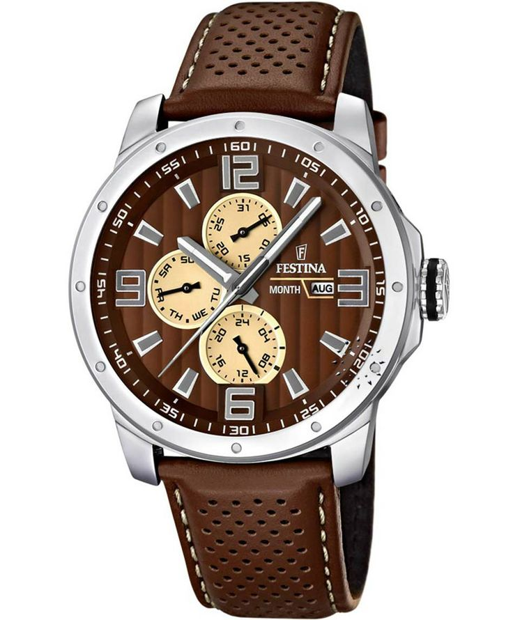 FESTINA Multifunction Brown Leather Strap Τιμή: 118€ http://www.oroloi.gr/product_info.php?products_id=38770
