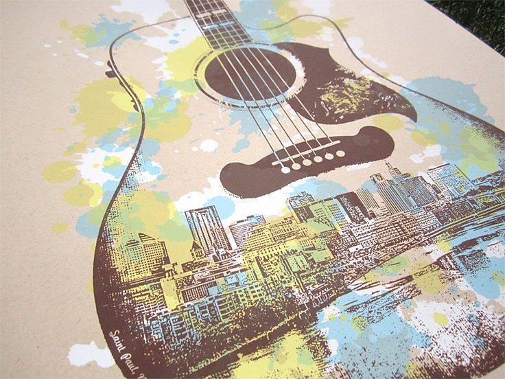 St. Paul Guitar Screen Print Poster - Saint Paul Music Poster. $25.00, via Etsy.