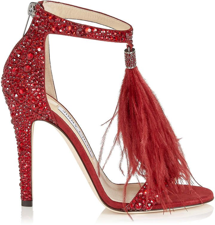 56abd2d7cab VIOLA 110 White Suede and Hot Fix Crystal Embellished Sandals with an Ostrich  Feather Tassel