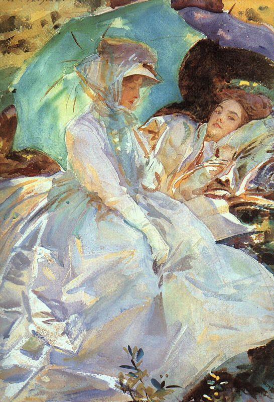 Reading, John Singer Sargent. He is a master of making an illusion of light