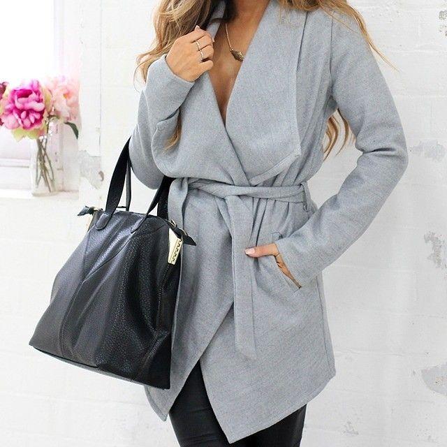 Light grey wrap coat