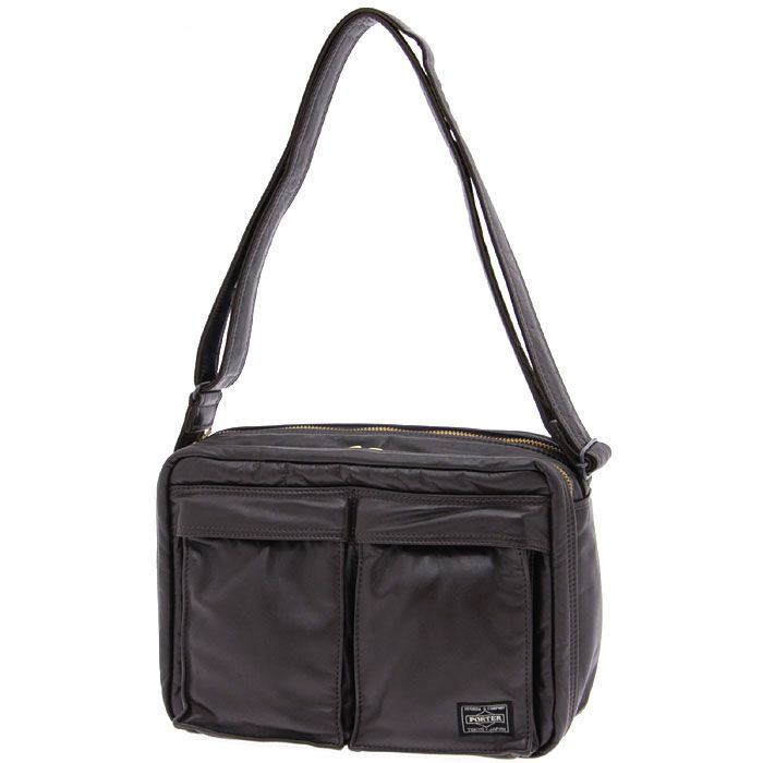 Porter Tanker Leather Shoulder Bag. Product No: 383-0489. Size: W280/H200/D110. Outside: Cow steerhide leather (chrome tanned)/Inside: Nylon taffeta. Available in Black, Brown.