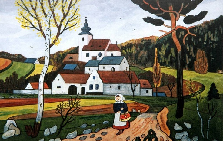 "Josef Lada Josef Lada (17.12.1887 Hrusice - 14.12.1957, Prague) was a Czech painter, illustrator and writer. Painting: ""the road from the village"""