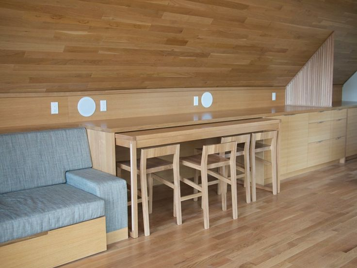 Table slides under counter under eaves  Chairs slide under table to tuck  completely away when not in use. 91 best   Innovative Design   images on Pinterest   Extensions