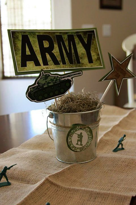 The pictures on sticks would be an easy way to spread the army theme around without going overboard. Plus it's EASY!