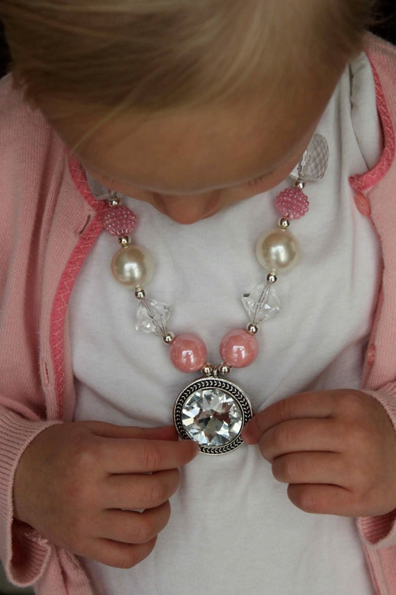 Pink Vintage gumball necklace
