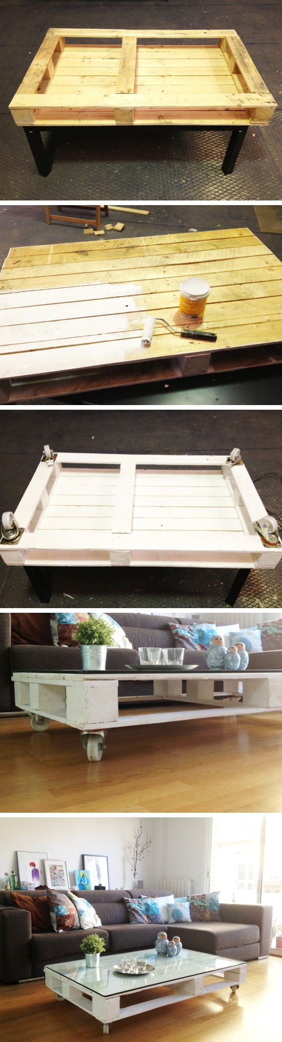 DIY Rolling Pallet Table | Easy & inexpensive!  Instead of glass for the top I would rather mod podge a design =)