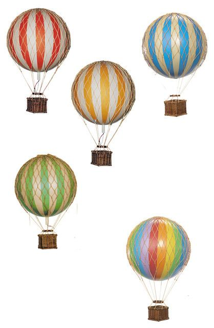 Floating the Skies Decorative Hot Air Balloon, Blue traditional-decorative-objects-and-figurines