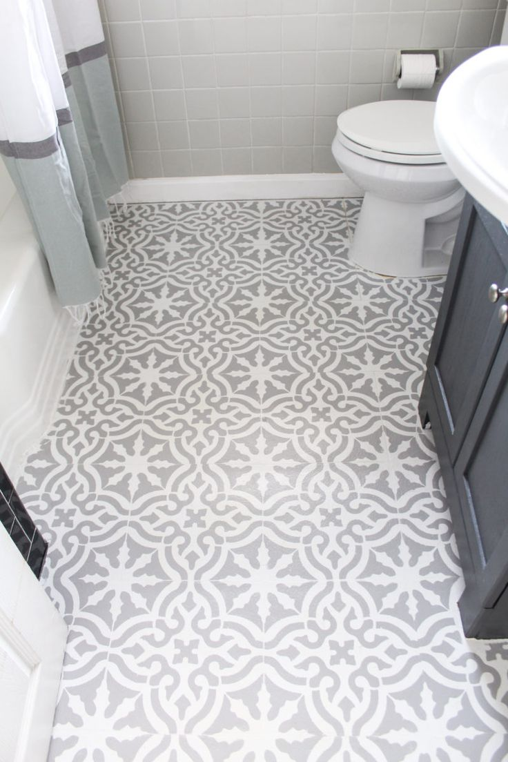 Inexpensive Bathroom Makeover with DIY Painted Floor - The Belmont Ranch