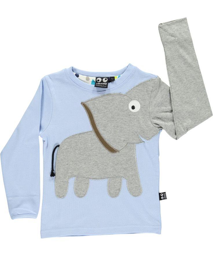Ubang Babblechat Mooi Lichtblauwe T-shirt met Olifant. ubang-babblechat.nl.emilea.be
