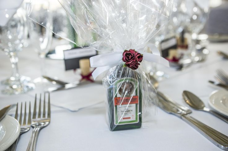 Adult favours. A very small bottle of jagermeister to get the party started.