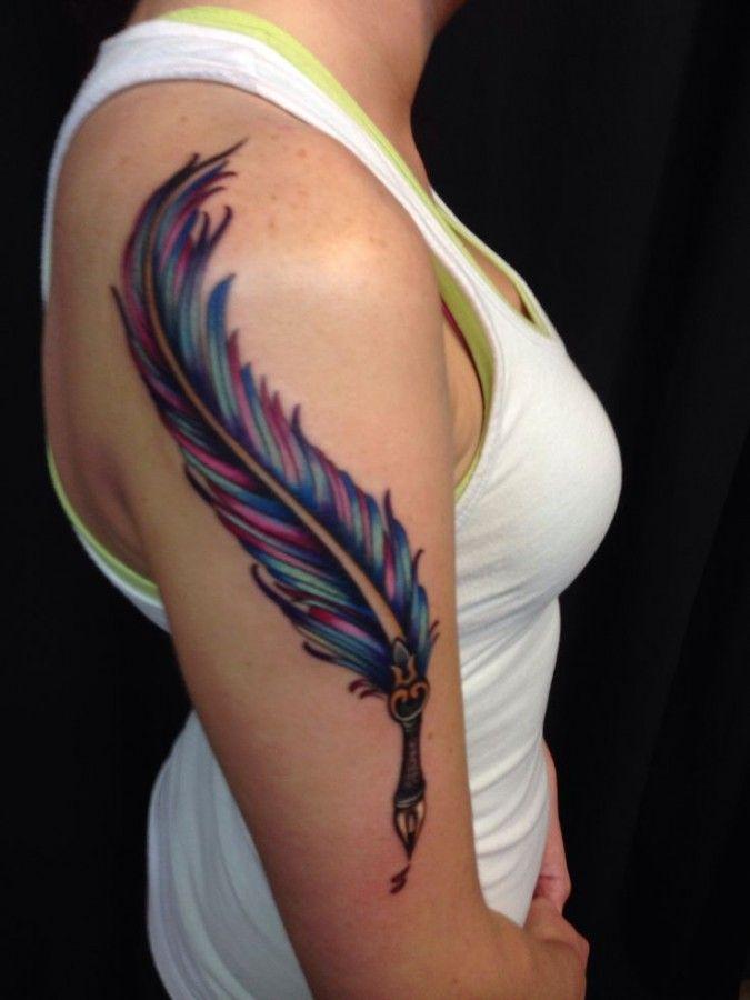 http://tattoomagz.com/feather-pen-tattoos/colourful-feather-pen-tattoo/