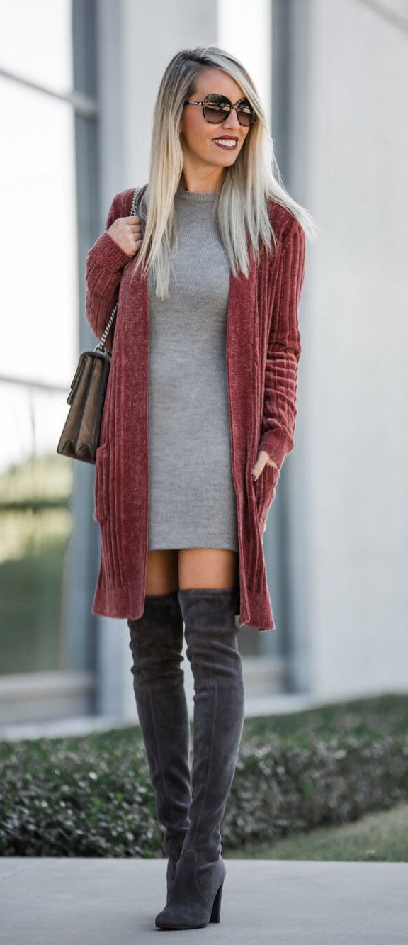 #winter #outfits red cardigan and gray mini dress