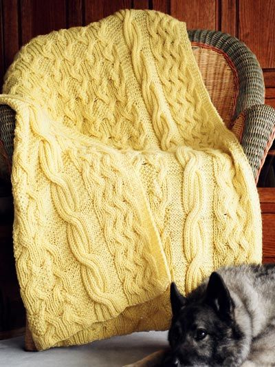 Free Knitting Pattern Dog Blanket : Reversible Cabled Afghan pattern from Annies - love this in a chunky yar...