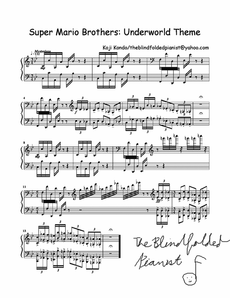 music sheet - mario songs
